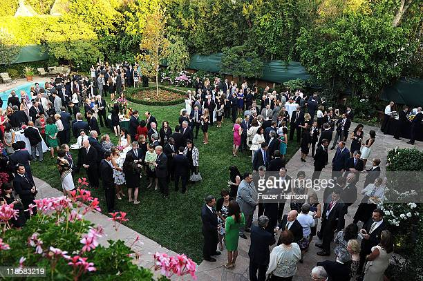 Catherine Duchess of Cambridge and Prince William Duke of Cambridge attend a private reception at the British ConsulGeneral's residence on July 8...