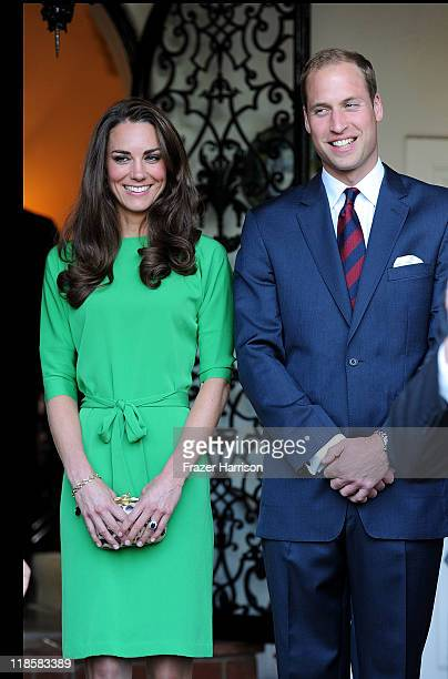 Catherine Duchess of Cambridge and Prince William Duke of Cambridge attend a private reception held at the British ConsulGeneral's residence on July...