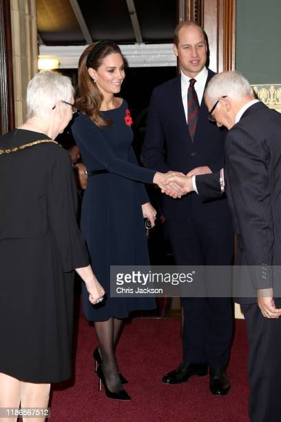 Catherine, Duchess of Cambridge and Prince William, Duke of Cambridge attend the annual Royal British Legion Festival of Remembrance at the Royal...