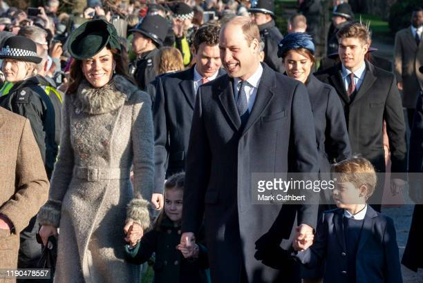 Catherine Duchess of Cambridge and Prince William Duke of Cambridge with Prince George of Cambridge and Princess Charlotte of Cambridge attend the...