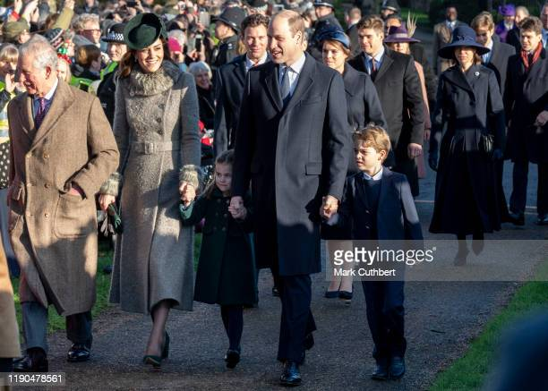 Catherine, Duchess of Cambridge and Prince William, Duke of Cambridge with Prince George of Cambridge and Princess Charlotte of Cambridge attend the...