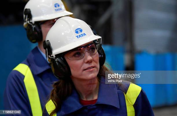 Catherine Duchess of Cambridge and Prince William Duke of Cambridge visit Tata Steel on February 04 2020 in Port Talbot Wales