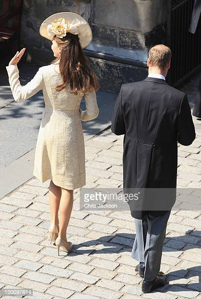 Catherine, Duchess of Cambridge and Prince William, Duke of Cambridge arrive at Canongate Kirk on the afternoon of the wedding of Mike Tindall and...