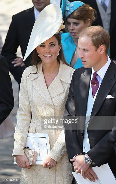 Catherine, Duchess of Cambridge and Prince William, Duke of Cambridge leave Canongate Kirk on the afternoon of the wedding of Mike Tindall and Zara...