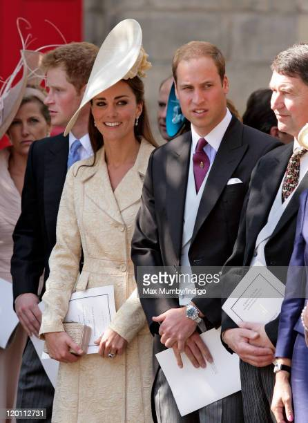 Catherine, Duchess of Cambridge and Prince William, Duke of Cambridge attend the wedding of Zara Phillips and Mike Tindall at Canongate Kirk on July...