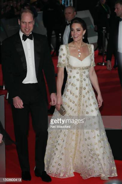Catherine Duchess of Cambridge and Prince William Duke of Cambridge attend the EE British Academy Film Awards 2020 at Royal Albert Hall on February...