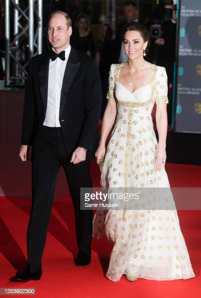 Catherine, Duchess of Cambridge and Prince William, Duke of Cambridge attend the EE British Academy Film Awards 2020 at Royal Albert Hall on February...