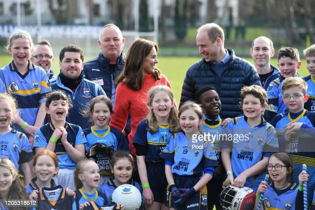 Catherine, Duchess of Cambridge and Prince William, Duke of Cambridge visit Salthill Knocknacarra GAA Club in Galway on March 5, 2020 in Galway,...