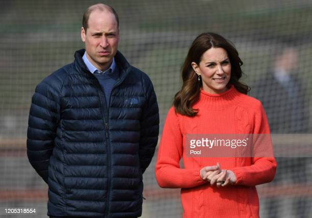 Catherine, Duchess of Cambridge and Prince William, Duke of Cambridge watch Gaelic Football and Hurling as part of their visit to Salthill...