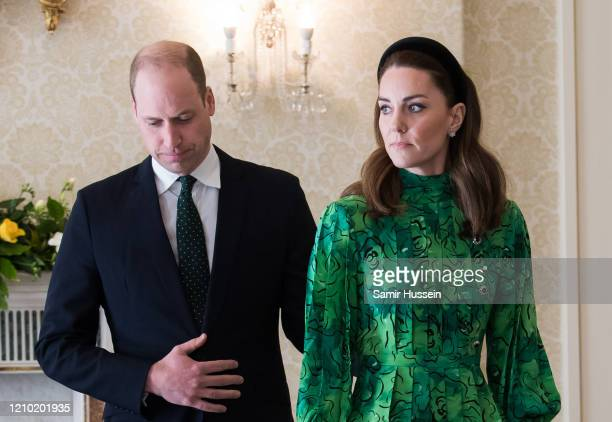 Catherine Duchess of Cambridge and Prince William Duke of Cambridge attend a meeting with the President of Ireland at Áras an Uachtaráin on March 03...