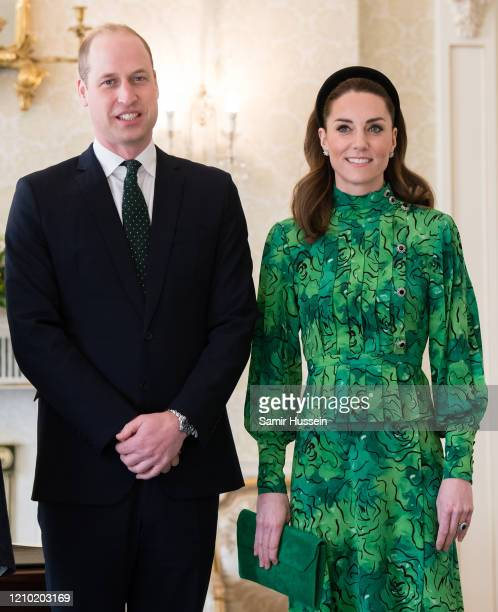 Catherine, Duchess of Cambridge and Prince William, Duke of Cambridge attend a meeting with the President of Ireland at Áras an Uachtaráin on March...
