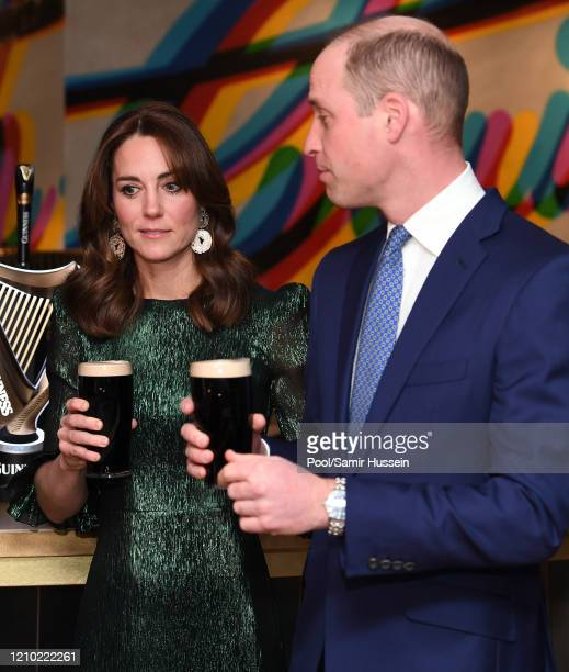 Catherine, Duchess of Cambridge and Prince William, Duke of Cambridge drink a Guinness at a reception hosted by the British Ambassador to Ireland...