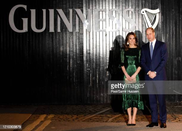 Catherine Duchess of Cambridge and Prince William Duke of Cambridge arrive at the Guinness Storehouse's Gravity Bar during day one of their visit to...