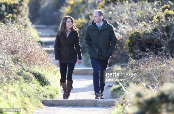 Catherine, Duchess of Cambridge and Prince William, Duke of Cambridge visit Howth Cliff, a cliff walk with views out over the Irish Sea during day...