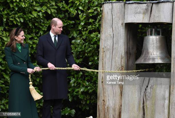 Catherine, Duchess of Cambridge and Prince William, Duke of Cambridge ring the Peace Bell during a meeting at Áras an Uachtaráin on March 03, 2020 in...