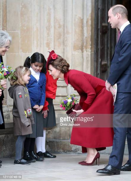 Catherine, Duchess of Cambridge and Prince William, Duke of Cambridge speak to a young wellwisher as they depart the Commonwealth Day Service 2020 at...