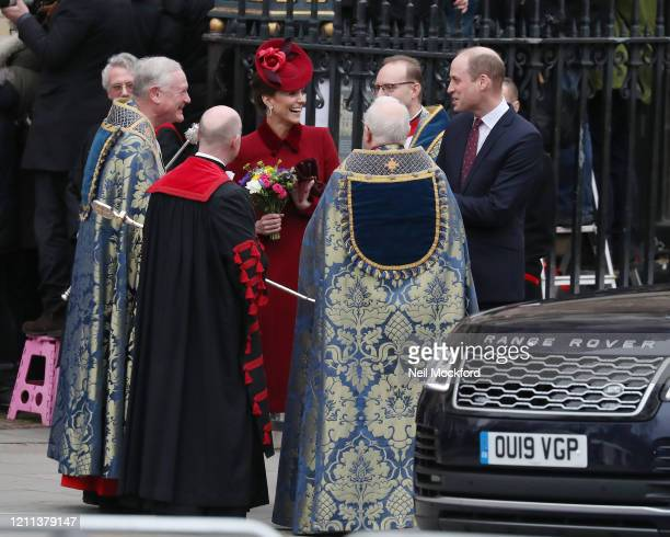 Catherine Duchess of Cambridge and Prince William Duke of Cambridge leave after attending the Commonwealth Day Service 2020 on March 09 2020 in...