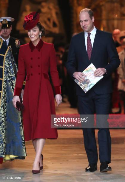 Catherine, Duchess of Cambridge and Prince William, Duke of Cambridge depart the Commonwealth Day Service 2020 at Westminster Abbey on March 09, 2020...