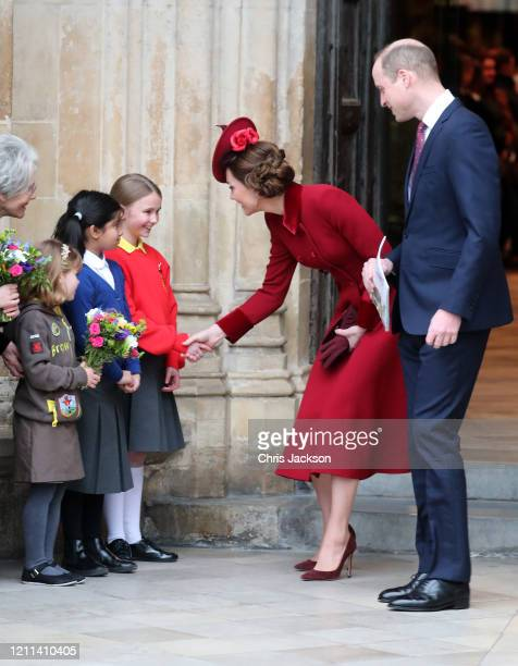 Catherine, Duchess of Cambridge and Prince William, Duke of Cambridge speak to young wellwishers as they depart the Commonwealth Day Service 2020 at...