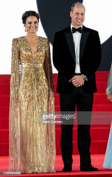 """Catherine, Duchess of Cambridge and Prince William, Duke of Cambridge attend the """"No Time To Die"""" World Premiere at the Royal Albert Hall on..."""