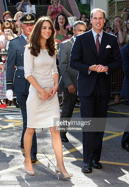 Catherine, Duchess of Cambridge and Prince William, Duke of Cambridge arrive to open the new Oak Centre for Children and Young People at Royal...