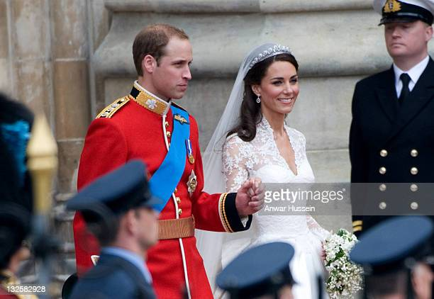 Catherine, Duchess of Cambridge and Prince William, Duke of Cambridge depart after their wedding at Westminster Abbey on April 29, 2011 in London,...