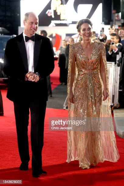 """Catherine, Duchess of Cambridge and Prince William, Duke of Cambridge attends the """"No Time To Die"""" World Premiere at Royal Albert Hall on September..."""
