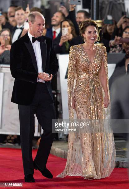 """Catherine, Duchess of Cambridge and Prince William, Duke of Cambridge attend the """"No Time To Die"""" World Premiere at Royal Albert Hall on September..."""