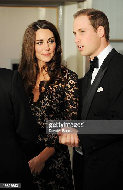 Catherine Duchess of Cambridge and Prince William Duke of Cambridge arrive at the UK Premiere of 'War Horse' at Odeon Leicester Square on January 8...