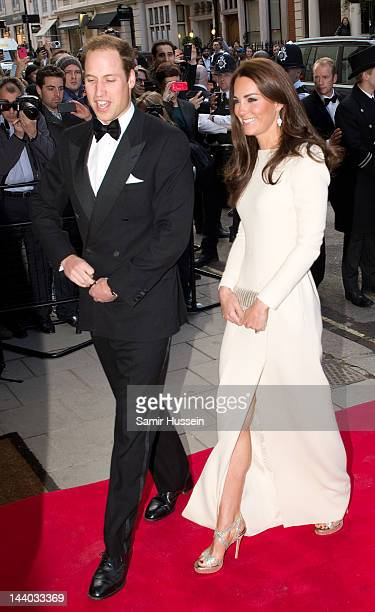 Catherine, Duchess of Cambridge and Prince William, Duke of Cambridge arrive for a dinner hosted by The Thirty Club at Claridges on May 8, 2012 in...