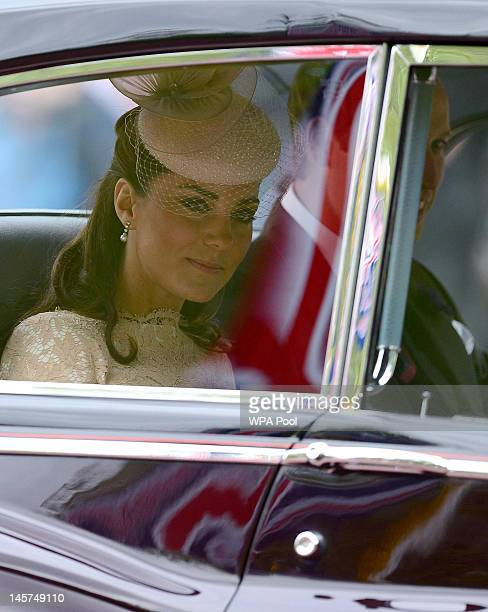 Catherine Duchess of Cambridge and Prince William Duke of Cambridge make their way from St James's Palace for the service of thanksgiving to mark the...