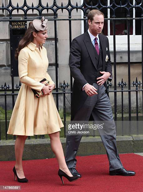 Catherine Duchess of Cambridge and Prince William Duke of Cambridge leave the Signet Library after lunch on July 5 2012 in Edinburgh Scotland Prince...
