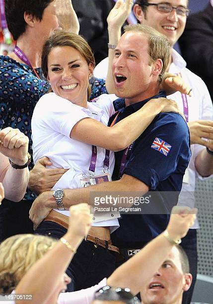 Catherine, Duchess of Cambridge and Prince William, Duke of Cambridge during Day 6 of the London 2012 Olympic Games at Velodrome on August 2, 2012 in...