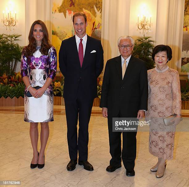 Catherine Duchess of Cambridge and Prince William Duke of Cambridge pose with the President of Singapore Tony Tan and his wife Mary Tan at The Istana...