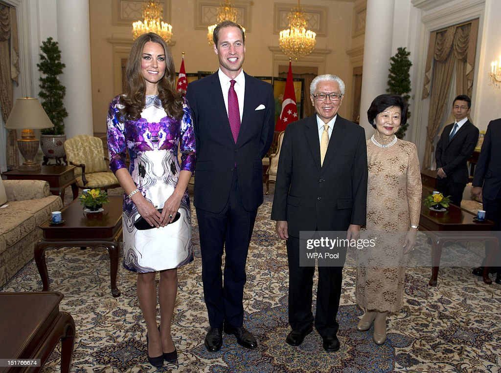 Catherine, Duchess of Cambridge and Prince William, Duke of Cambridge pose with the President of Singapore Tony Tan and his wife Mary Tan at The Istana on day 1 of their Diamond Jubilee tour on September 11, 2012 in Singapore. Prince William, Duke of Cambridge and Catherine, Duchess of Cambridge are on a Diamond Jubilee Tour of the Far East taking in Singapore, Malaysia, the Solomon Islands and the tiny Pacific Island of Tuvalu.