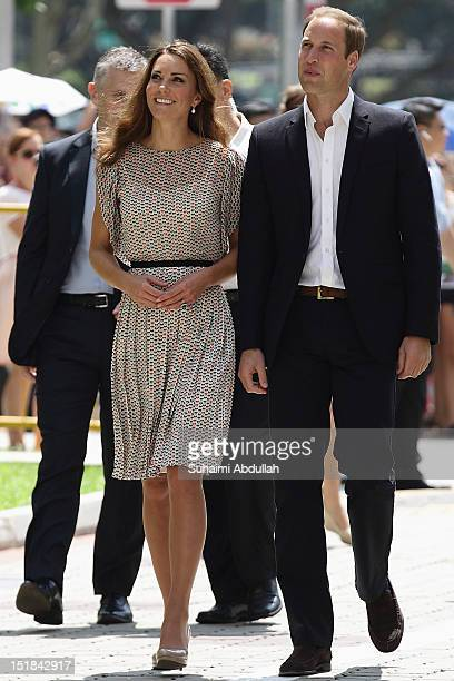 Catherine, Duchess of Cambridge and Prince William, Duke of Cambridge arrive at Queenstown for the community cultural visit on day 2 during the...