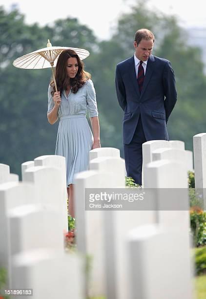 Catherine Duchess of Cambridge and Prince William Duke of Cambridge visit Kranji Commonwealth War Cemetery on day 3 of Prince William Duke of...