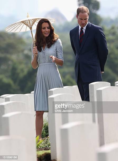 Catherine, Duchess of Cambridge and Prince William, Duke of Cambridge visit Kranji Commonwealth War Cemetery on day 3 of Prince William, Duke of...