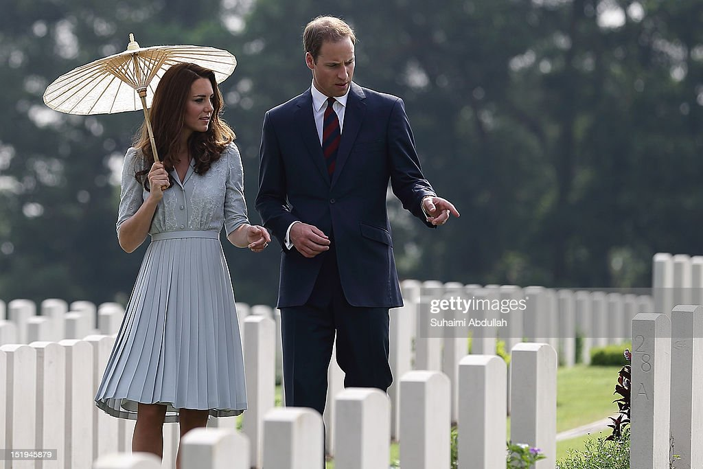 Catherine, Duchess of Cambridge and Prince William, Duke of Cambridge visit Kranji Commonwealth War Cemetery on day 3 of Prince William, Duke of Cambridge and Catherine, Duchess of Cambridge's Diamond Jubilee Tour of South East Asia on September 13, 2012 in Singapore. Prince William, Duke of Cambridge and Catherine, Duchess of Cambridge are on a Diamond Jubilee Tour of South East Asia and the South Pacific taking in Singapore, Malaysia, Solomon Islands and Tuvalu.