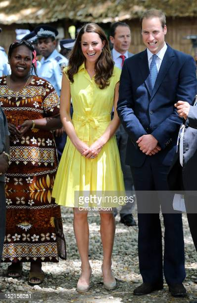 Catherine Duchess of Cambridge and Prince William Duke of Cambridge visit a cultural village on their Diamond Jubilee tour of the Far East on...