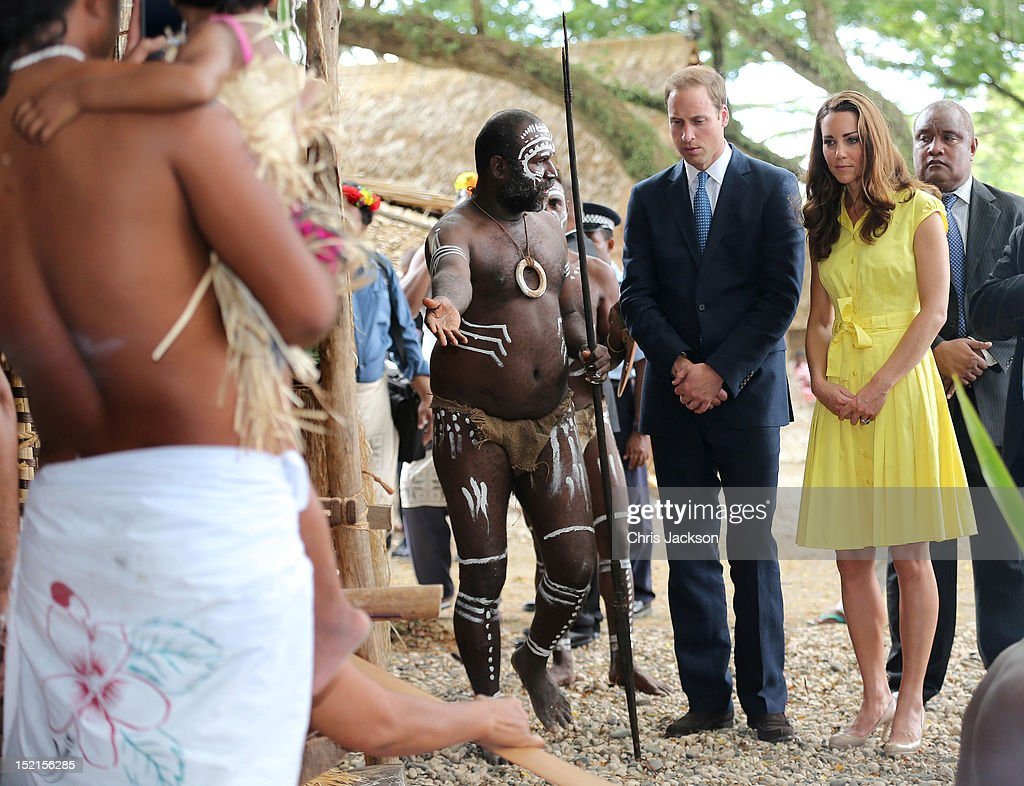 Catherine, Duchess of Cambridge and Prince William, Duke of Cambridge visit a cultural village on their Diamond Jubilee tour of the Far East on September 17, 2012 in Honiara, Guadalcanal Island. Prince William, Duke of Cambridge and Catherine, Duchess of Cambridge are on a Diamond Jubilee tour representing the Queen taking in Singapore, Malaysia, the Solomon Islands and Tuvalu.