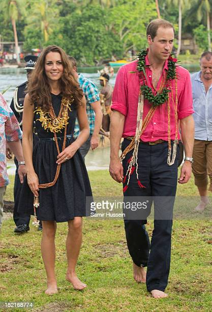 Catherine Duchess of Cambridge and Prince William Duke of Cambridge visit Tuvanipupu Island on their Diamond Jubilee tour of the Far East on...