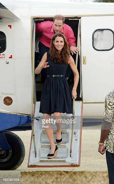 Catherine Duchess of Cambridge and Prince William Duke of Cambridge are seen arriving in Marau on their way to Tivanipupu on day 7 of their Diamond...