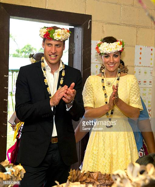 Catherine, Duchess of Cambridge and Prince William, Duke of Cambridge visit Nauti Primary School during the Royal couple's Diamond Jubilee tour of...