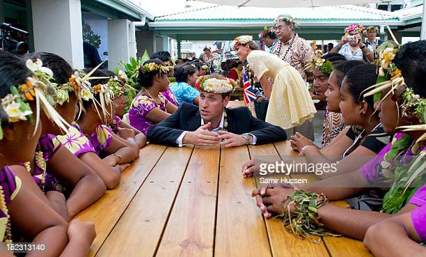 Catherine Duchess of Cambridge and Prince William Duke of Cambridge visit the University of the South Pacific during the Royal couple's Diamond...