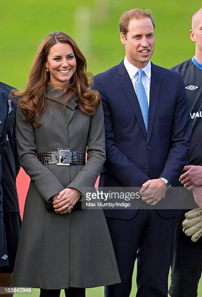 Catherine Duchess of Cambridge and Prince William Duke of Cambridge attend the official launch of The Football Association's National Football Centre...