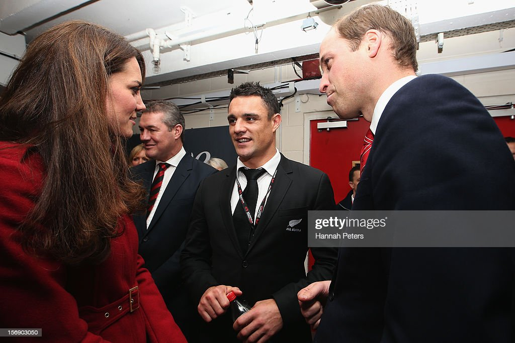 Catherine, Duchess of Cambridge and Prince William, Duke of Cambridge meet Daniel Carter of the All Blacks following the international match between Wales and New Zealand at Millennium Stadium on November 24, 2012 in Cardiff, Wales.