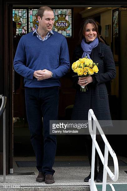 Catherine Duchess of Cambridge and Prince William Duke of Cambridge leave the King Edward VII hospital where she has been treated for hyperemesis...