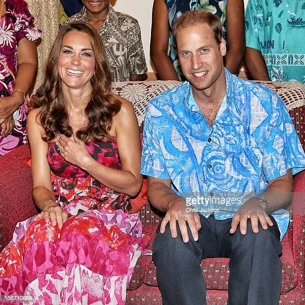 Catherine Duchess of Cambridge and Prince William Duke of Cambridge pose in traditional Island clothing as they visit the Governor General's house on...