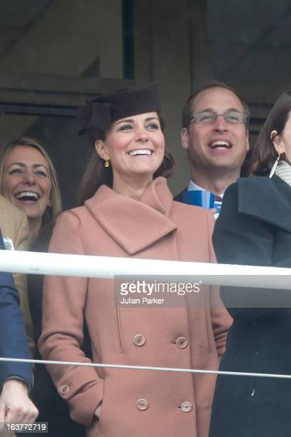 Catherine Duchess of Cambridge and Prince William Duke of Cambridge attend the final day of the Cheltenham Festival at Cheltenham Racecourse on March...